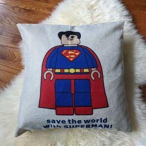 Superman / captain america lego throw pillow case